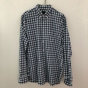 J. Crew Blue and White Gingham Casual Button Down